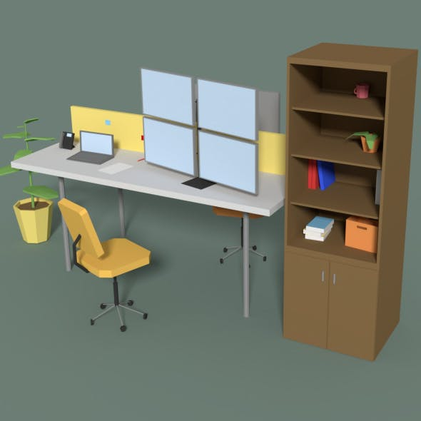 Low Poly Cartoony Office Desk 2