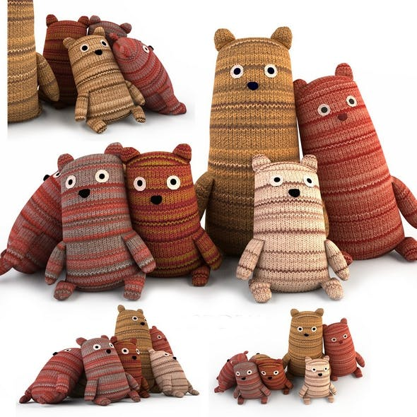 Toy bears textile bears family