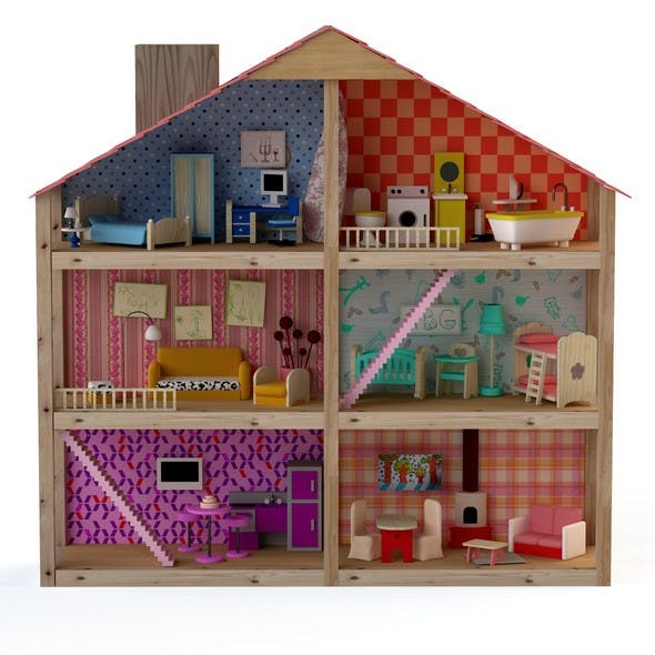 Wooden House for dolls Toy house