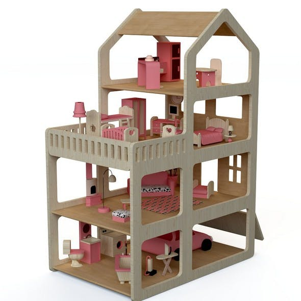 Wooden House for dolls Toy house 2