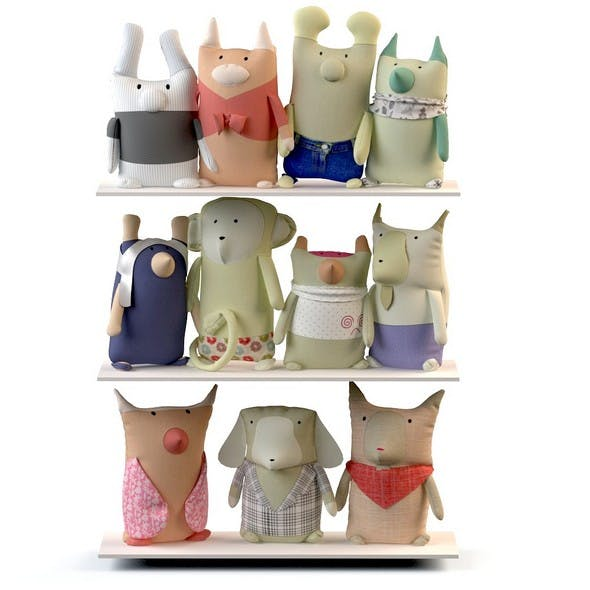 Set textile toys hare rabbit cow monkey dog owl donkey cat