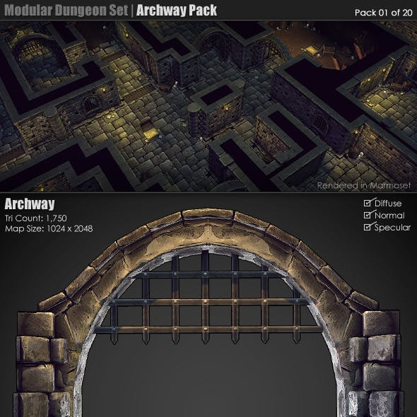 Modular Dungeon Set | Archway Pack (01 of 20)