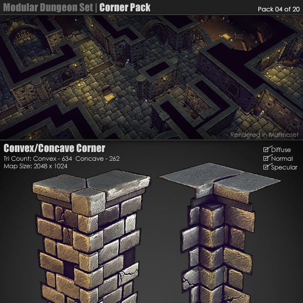 Modular Dungeon Set | Corner Pack (04 of 20)