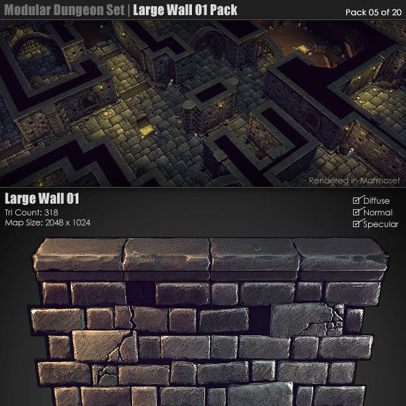Modular Dungeon Set| Large Wall 01 Pack (05 of 20)