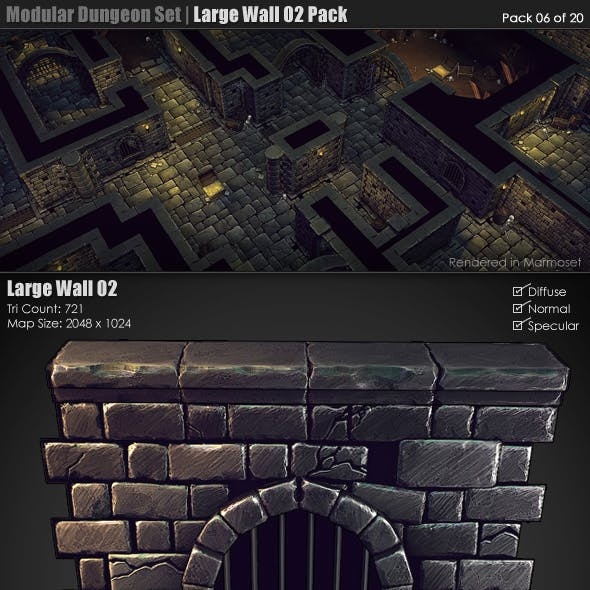 Modular Dungeon Set| Large Wall 02 Pack (06 of 20)