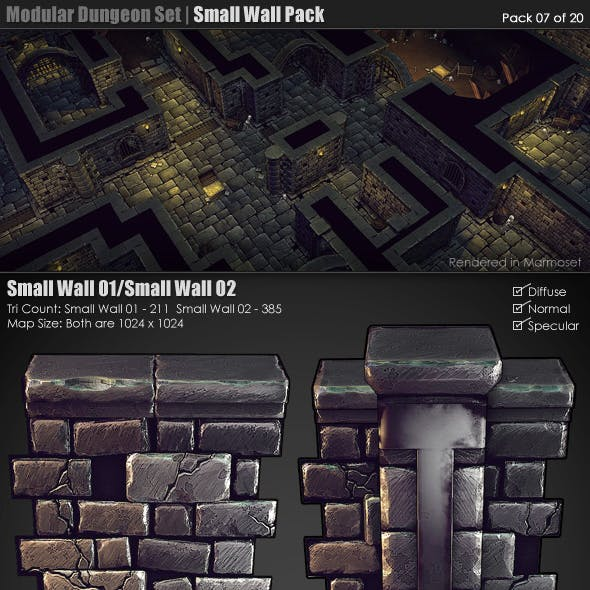 Modular Dungeon Set| Small Wall Pack (07 of 20)