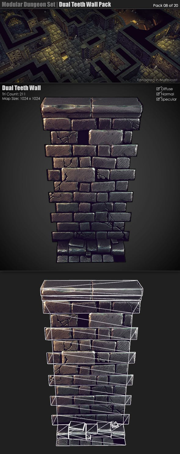 Modular Dungeon Set|Dual Teeth Wall Pack (8 of 20) - 3DOcean Item for Sale