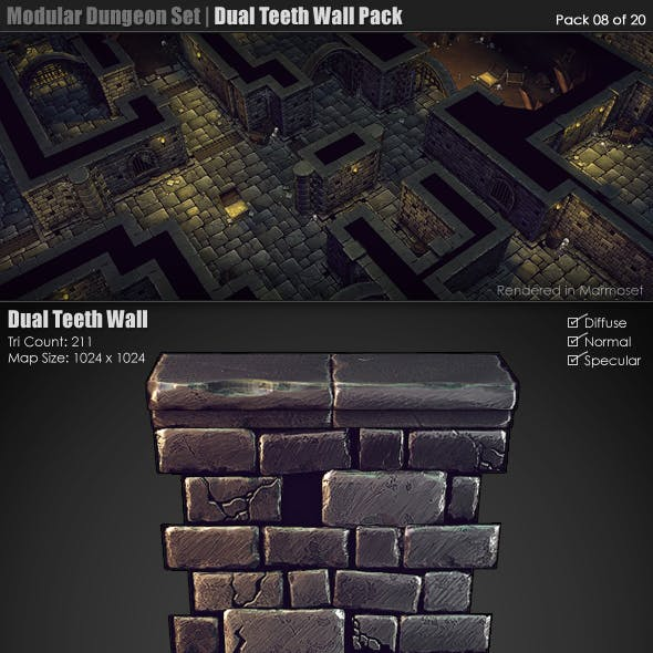 Modular Dungeon Set|Dual Teeth Wall Pack (8 of 20)