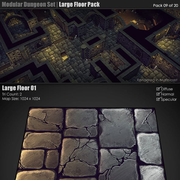 Modular Dungeon Set | Large Floor Pack (09 of 20)
