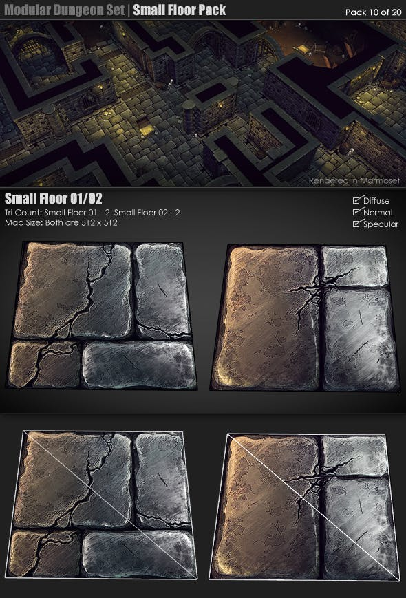 Modular Dungeon Set | Small Floor Pack (10 of 20) - 3DOcean Item for Sale