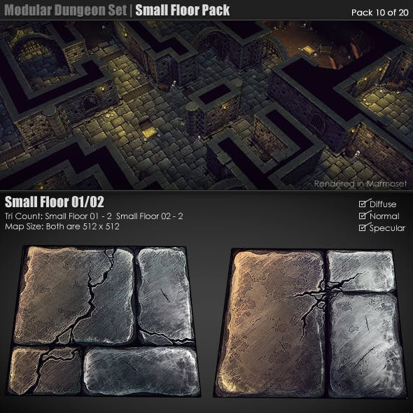 Modular Dungeon Set | Small Floor Pack (10 of 20)