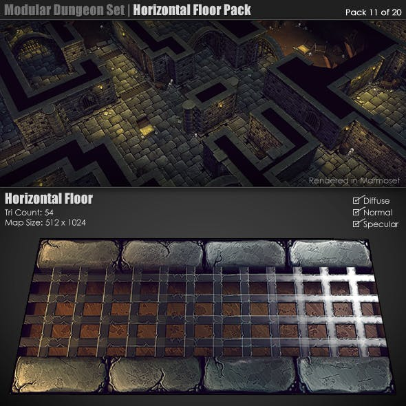 Modular Dungeon Set|Horizontal Floor Pack (11of20)
