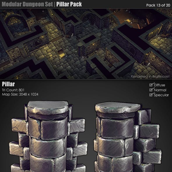 Modular Dungeon Set | Pillar Pack (13 of 20)