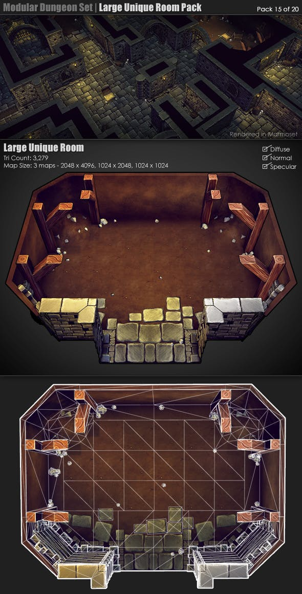 Modular Dungeon Set | Unique Room Pack (15 of 20) - 3DOcean Item for Sale