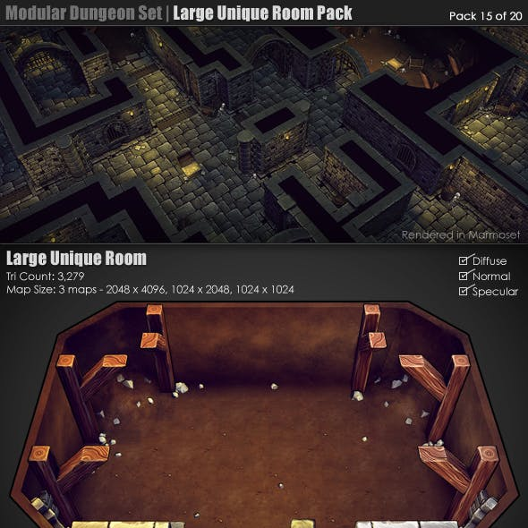 Modular Dungeon Set | Unique Room Pack (15 of 20)