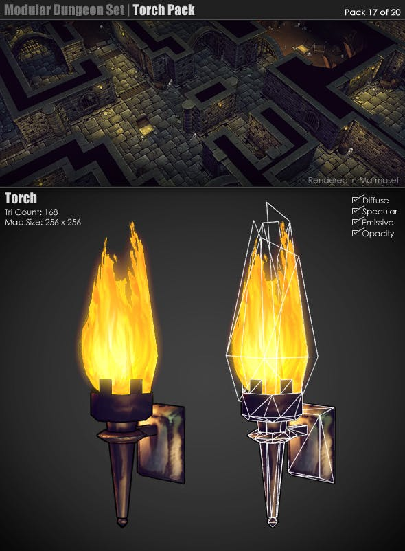 Modular Dungeon Set | Torch Pack (17 of 20) - 3DOcean Item for Sale