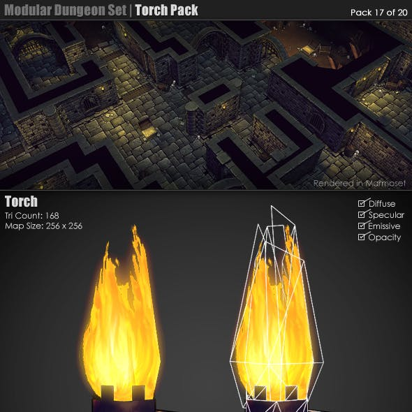 Modular Dungeon Set | Torch Pack (17 of 20)