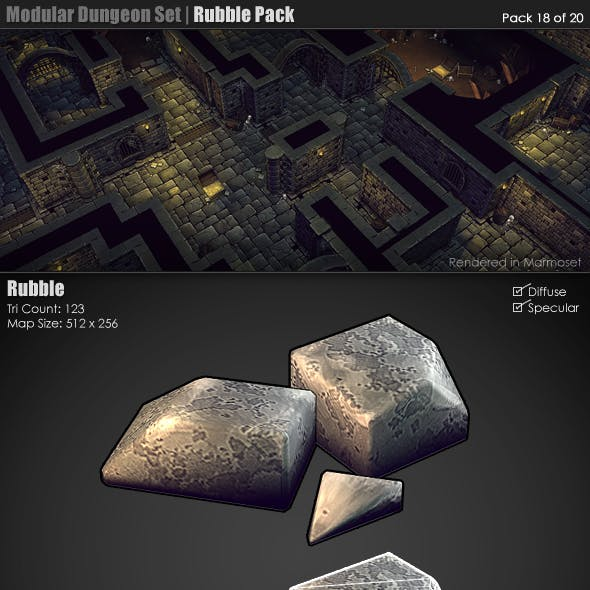 Modular Dungeon Set | Rubble Pack (18 of 20)