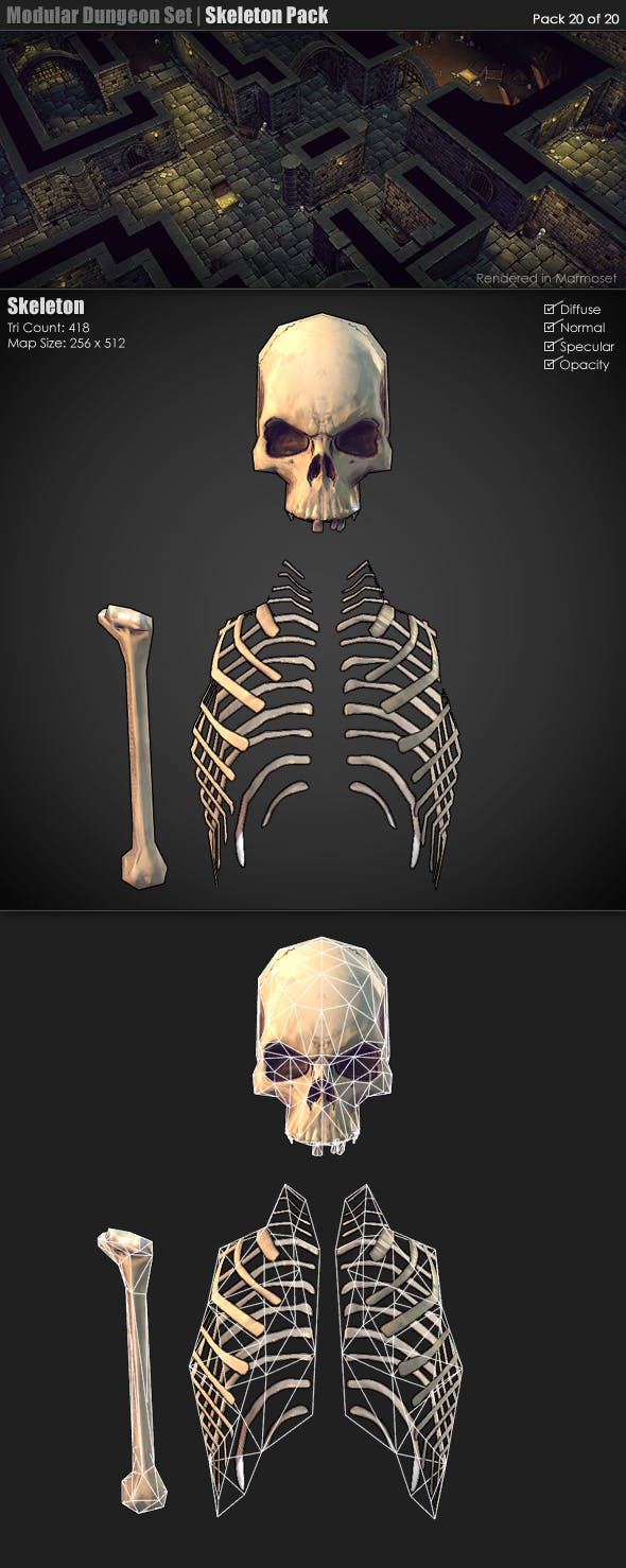 Modular Dungeon Set   Skeleton Pack (20 of 20) - 3DOcean Item for Sale