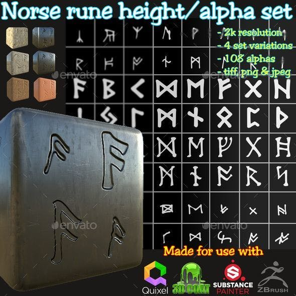 Ancient Norse Rune Height/Alpha Brushes/Stamp/Decal Set - 3DOcean Item for Sale