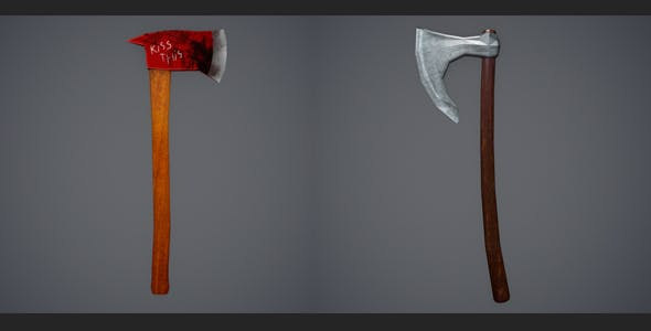 Low Poly Firefighter Axe and Low Poly Viking Axe - 3DOcean Item for Sale