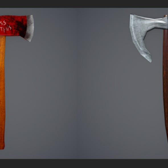 Low Poly Firefighter Axe and Low Poly Viking Axe