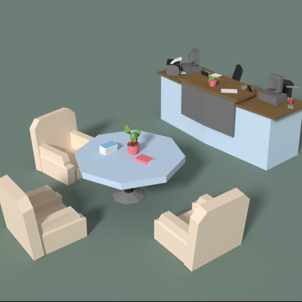Low Poly Cartoony Office Reception - 3DOcean Item for Sale