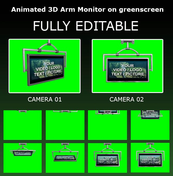 Animated 3D Arm Monitor on greenscreen - 3DOcean Item for Sale