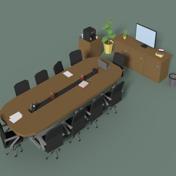 Low Poly Meeting Room - 3DOcean Item for Sale