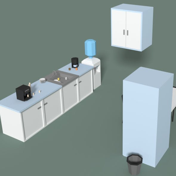 Low Poly Office Kitchen - 3DOcean Item for Sale