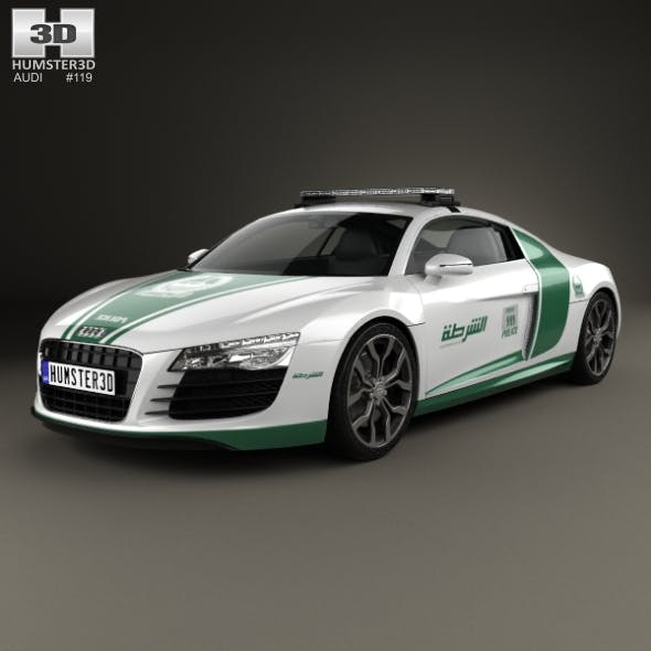 Audi R8 Police Dubai 2013 - 3DOcean Item for Sale
