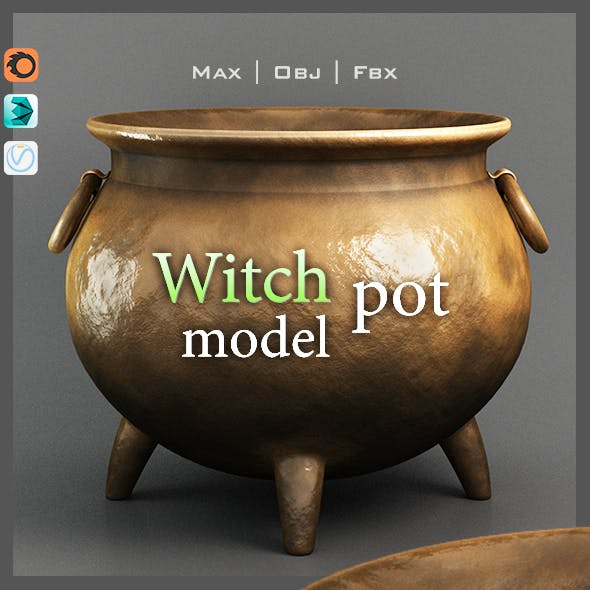 Halloween Witch Pot Realistic Model