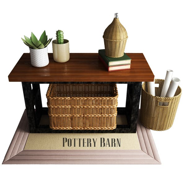 Pottery Barn Griffin Reclaimed Wood Console Table - 3DOcean Item for Sale