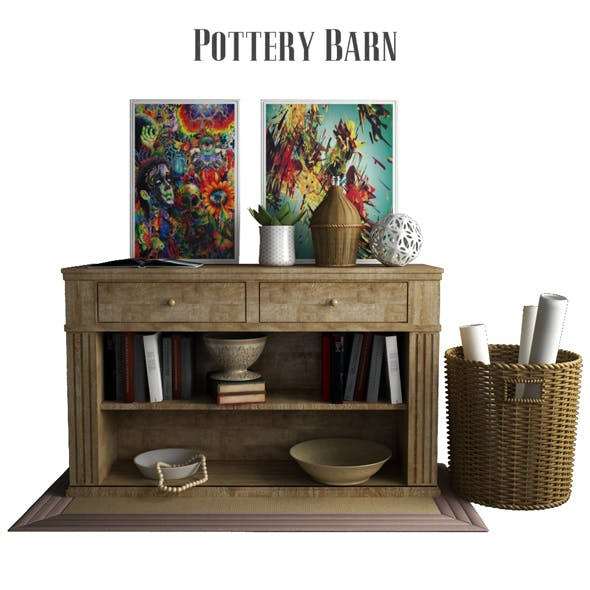 Pottery Barn Livingston Console Table - 3DOcean Item for Sale