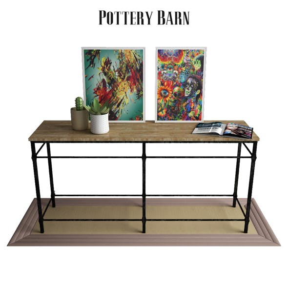 Pottery Barn Parquet Reclaimed Wood Console Table - 3DOcean Item for Sale