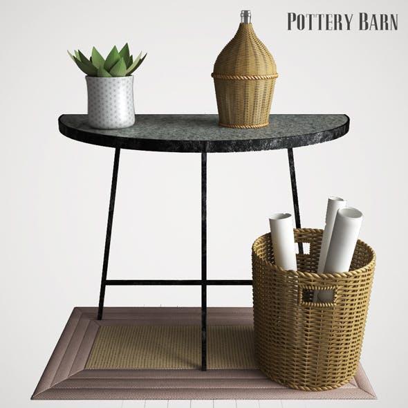 Pottery barn Quinton Galvanized Demilune Console Table