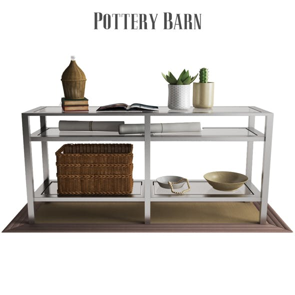 Pottery Barn Tanner Long Console Table - Polished Nickel Finish - 3DOcean Item for Sale