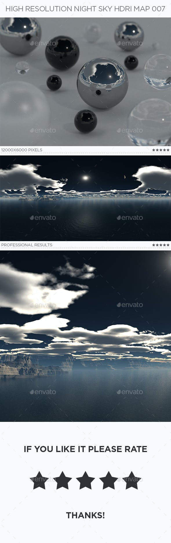 High Resolution Night Sky HDRi Map 007 - 3DOcean Item for Sale