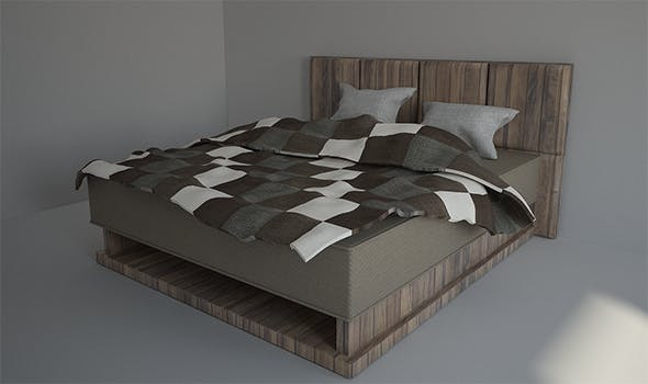 Bed with Pillow and Bedsheet - 3DOcean Item for Sale