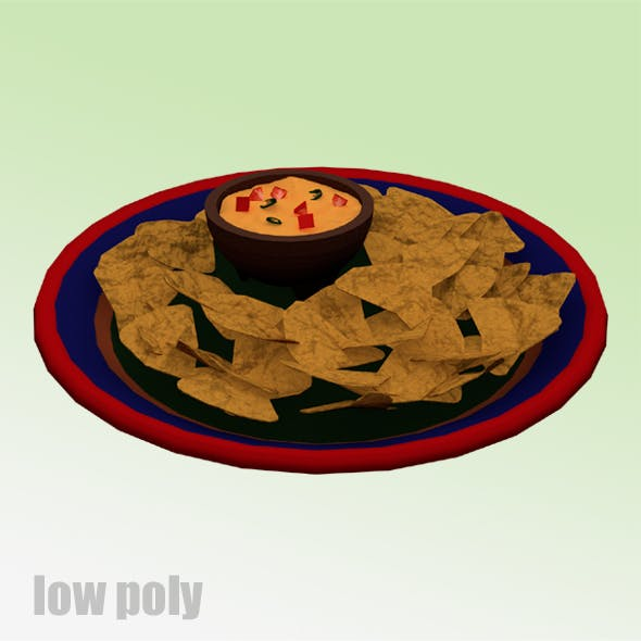Low Poly Nachos and Cheese Plate - 3DOcean Item for Sale