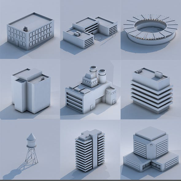 Low Poly City Building Collection
