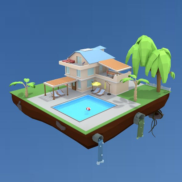 pool house low poly