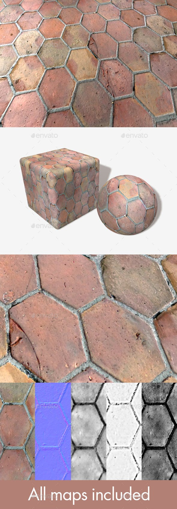 Old Hexagon Floor Tiles Seamless Texture - 3DOcean Item for Sale