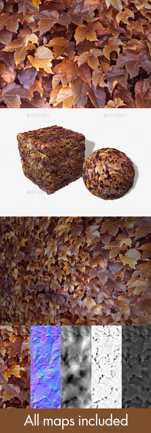 Purple Orange Autumn Leaves Seamless Texture - 3DOcean Item for Sale