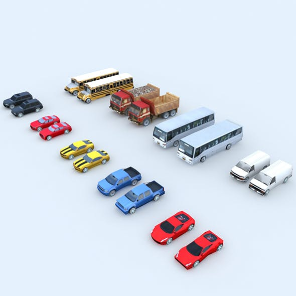 Low Poly Cars with LOD - 3DOcean Item for Sale