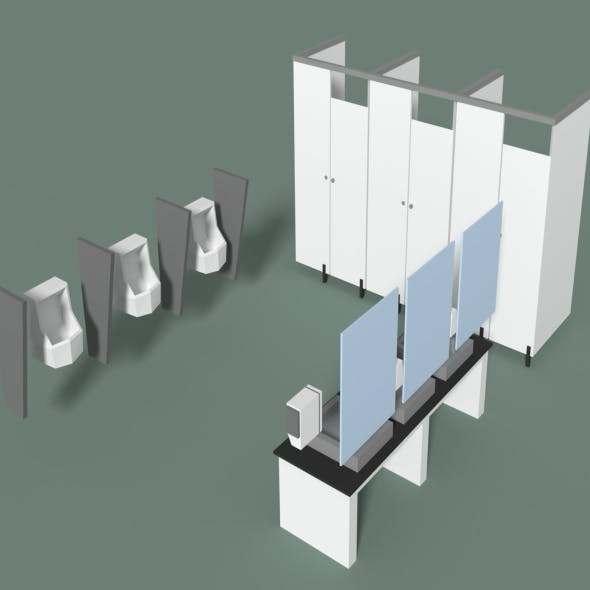 Low Poly Office Toilets