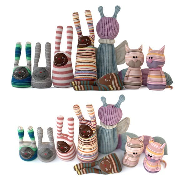 A set of textile toys from socks (cats, rabbits, caterpillars) 3D