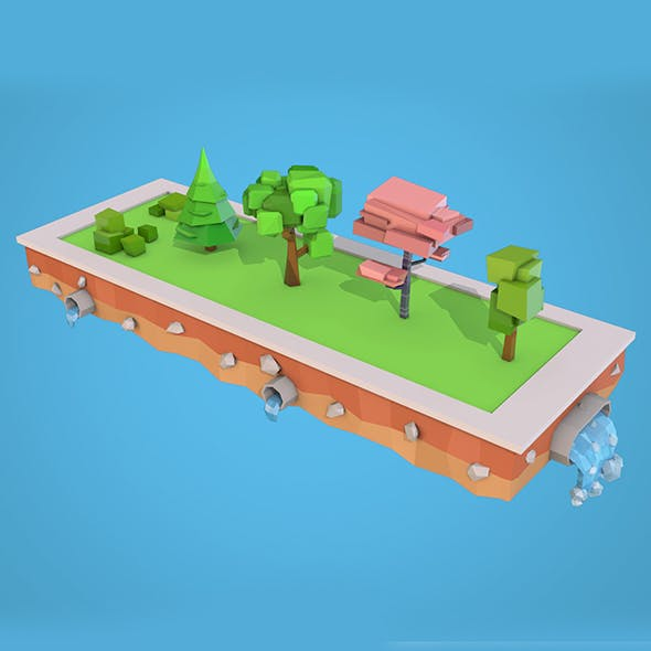 Low Poly Trees Bushs Pack - 3DOcean Item for Sale