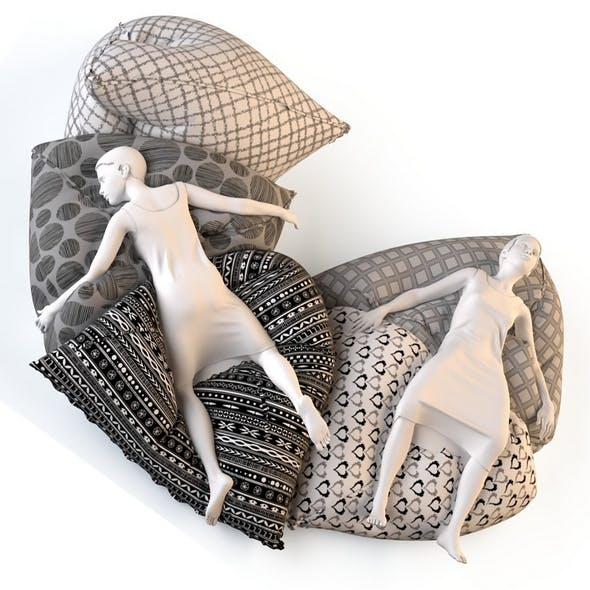 Bean bag chair with female mannequins 2 - 3DOcean Item for Sale