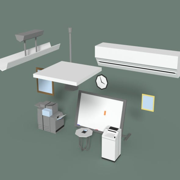 Low Poly Office Miscellaneous Items - 3DOcean Item for Sale